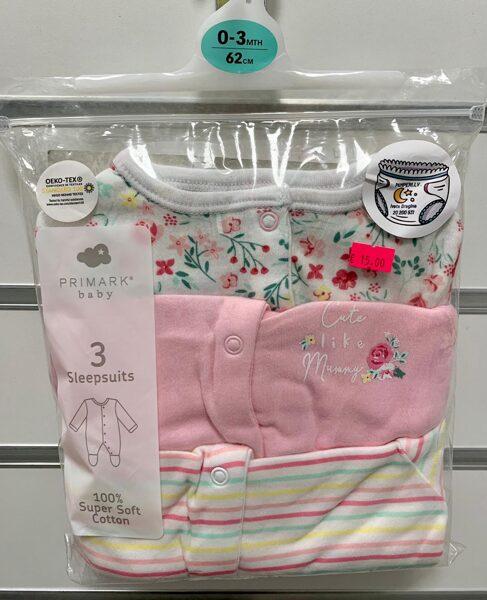 Pidžamas(slipiji) 3gb/0-3mēn./62cm; Balta ar puķēm+rozā-Cute like mummy+svītraina.
