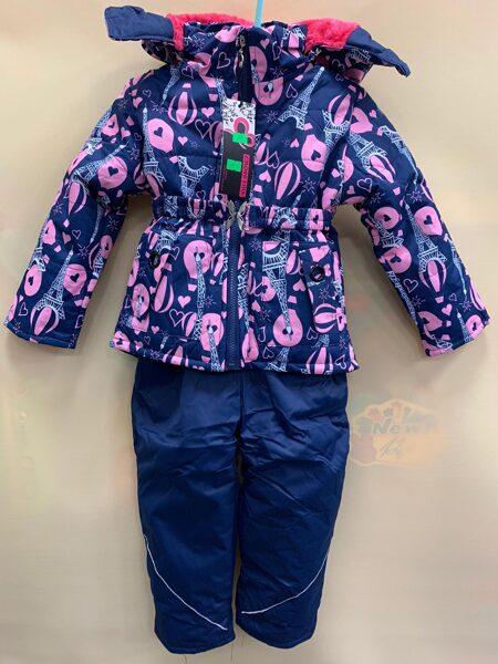 JAKA+BIKSES uz lencēm. Zils ar rozā jaka ar Eifela un balonu printu, bikses zilas. 104 cm 30 m