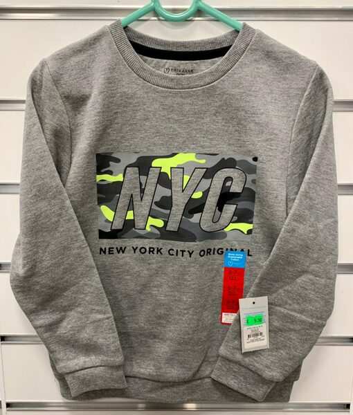 Plāns džemperis/pelēks/uzraksts NYC/122 cm 6-7 g