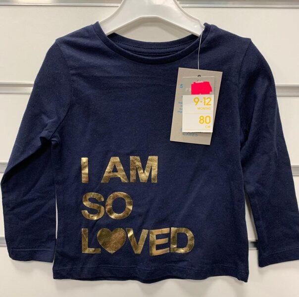 T Krekls garās rokas zils ar uzrakstu I AM SO LOVED 80 cm 9-12 m