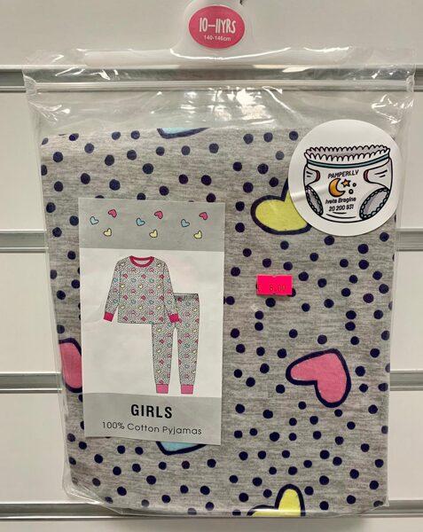Pidžama garās rokas+garās bikses/10-11gadi/140-146cm/Pelēka ar melnām pumpām un sirsniņām