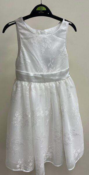 Kleita svētkiem/4-5 gadi/104-110cm/Balta ar baltiem ziediem/bezroku.