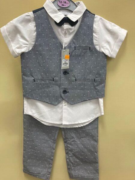 Svētku komplekts zēniem/12-18 mēn./86cm/Balts īsroku krekls+pelēka veste+pelēkas garās bikses+tauriņš.