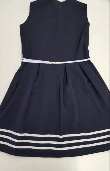 Kleita bez rokām/146cm/tumši zila ar baltām svītrām lejas daļā un baltu jostiņu