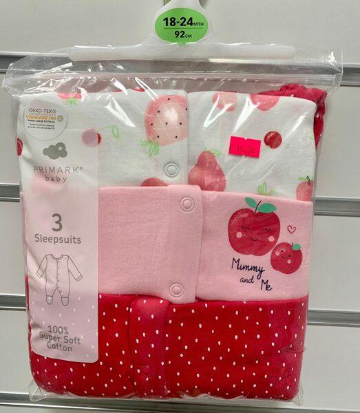Pidžama(slipiji) 3gb/18-24 mēn.,92cm/Balta ar zemenēm/rozā ar ķirsi/sarkana ar baltām pumpiņām.
