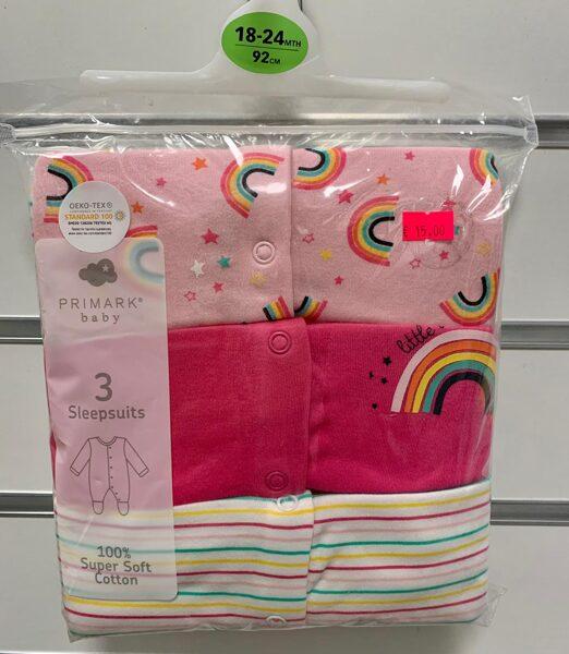 Pidžamas(slipiji) 3gb/18-24mēn./92cm/Rozā, strīpaina, rozā ar varavīksni.