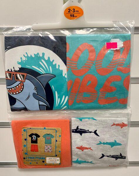 Pidžamas 2gb/īsās;2-3gadi/98cm; Ar haizivīm