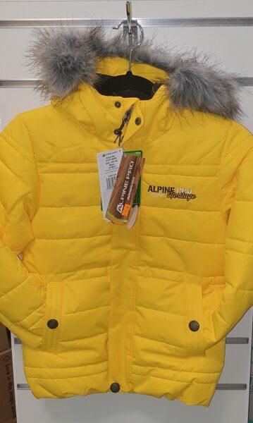 Rudens-ziemas kurtka,pagarināta/128-134cm/Dzeltena ar kapuci.