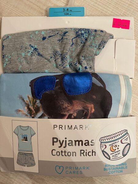 Pidžamma īsās rokas/šorti zila augša ar brillēm,pelēki šorti 104 cm 3-4 g