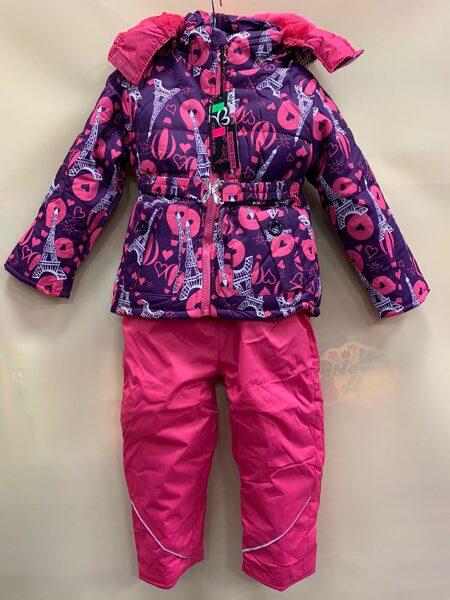 JAKA+BIKSES uz lencēm. Roza jaka ar Eifela un balonu printu, bikses rozā. 86 cm 12 m