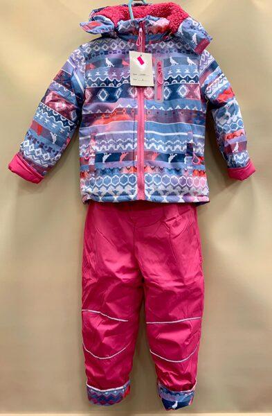 Ziemas kombinzons atsevišķais/4gadi/Rozā, siltās bikses+gaiši zila augša ar dažādiem elementiem, ar rozā rāvēju.