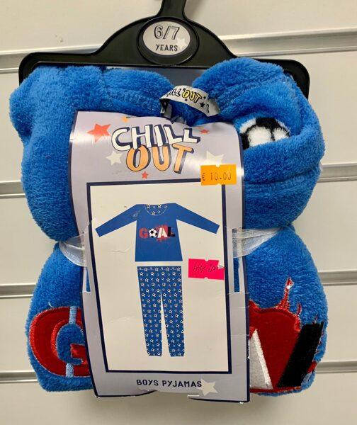Pidžama siltā/garās rokas+garās bikses/6-7 gadi/Zila ar futbolbumbām.