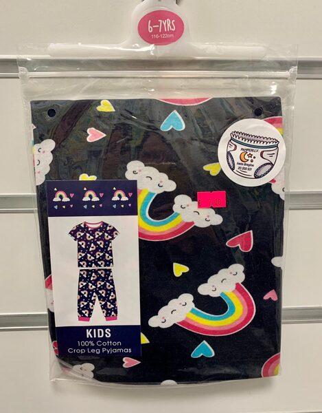Pidžama īsās rokas+garās bikses/6-7gadi/116-122cm/Melna ar varavīksnēm.