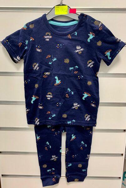 Pidžama īsās rokas+garās bikses/74-80cm/Tumši zila ar pludmales tematiku.