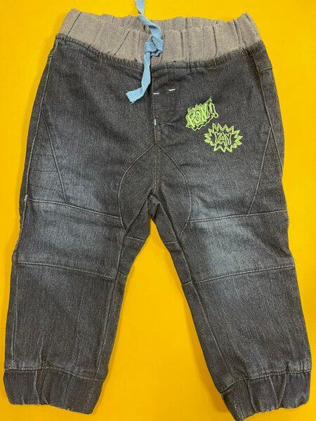 Džinsa bikses zēniem/74cm/Tumši pelēkas ar gaišu, gumijotu jostas daļu, ar gumiju kāju apakšdaļās.