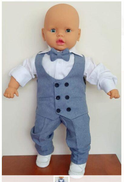 Svētku komplekts zēniem/12-18 mēn./86cm/Balts garroku krekls+zila veste+zilas garās bikses+tauriņš.