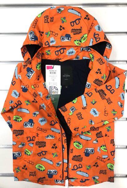 Rudens jaka/98cm/Oranža ar kapuci, ar siltinājumu