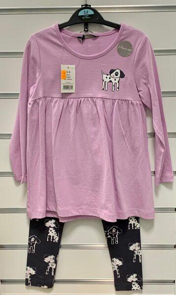 Tunika+Legingi/98-104cm/Gaiši violeta tunika+melni legingi ar sunīšiem.