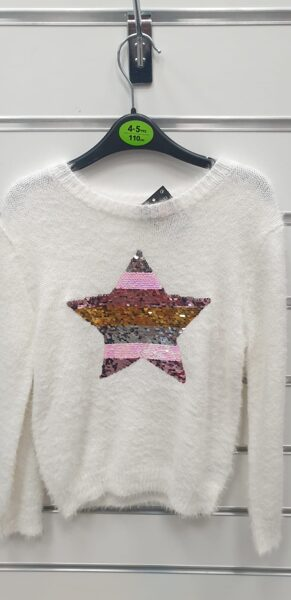 Džemperis/4-5gadi/110cm/Balts, adīts ar zvaigzni.