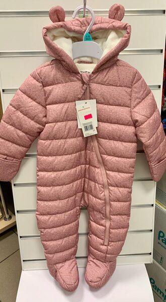Ziemas-rudens kombinezons 9-12 mēn./80cm/Rozīgs, kapuce ar austiņām.