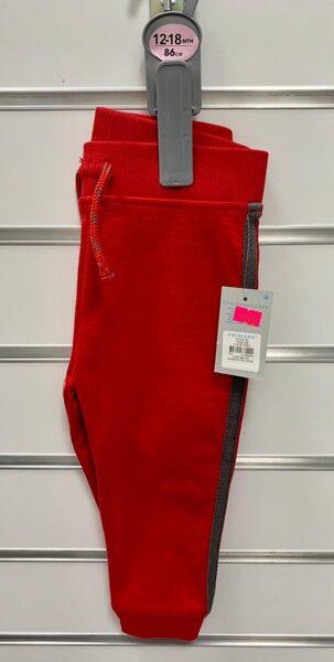 Sporta bikses 12-18mēn./86cm/Sarkans ar brūnām svītrām sānos.