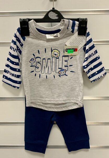 Garroku krekliņš Smile ar tumši zilām biksēm/62cm