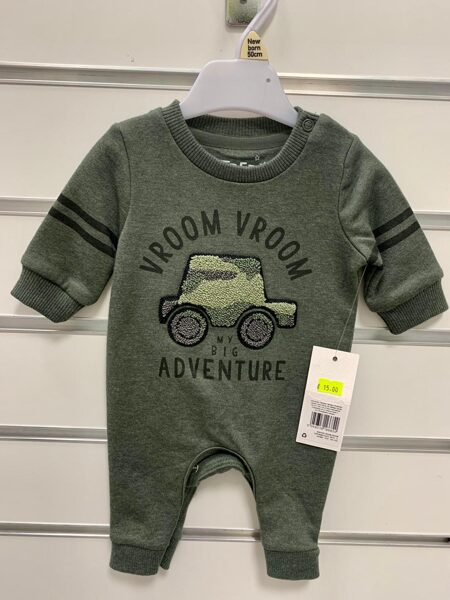 Romperis Newborn/50cm/Zaļš-Vroom Adventure.