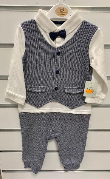 Svinīgs komplekts zēniem/3-6 mēn./Garroku balts krekls ar pelēku vesti+Pelēkas bikses+Tauriņš