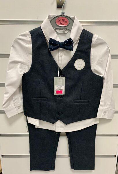 Svinīgs komplekts zēniem/12-18mēn./86cm/Balts krekls ar garām rokām+tumšas bikses+tumša veste+tauriņš