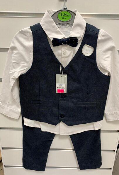 Svinīgs komplekts zēniem/18-24mēn./92cm/Balts krekls ar garām rokām+Tumši zilas veste+Tumši zilas bikses+Tauriņš.