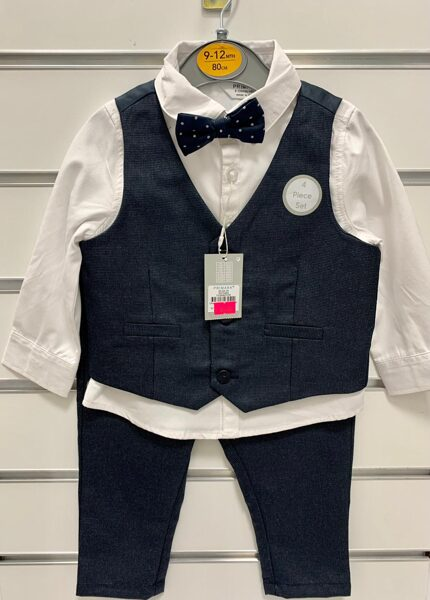 Svinīgs komplekts zēniem/9-12mēn../80cm/Krekls ar garām rokām+tumši zila veste+tumši zilas bikses+tauriņš.