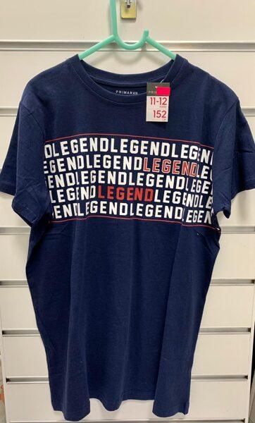 Īsroku krekls 11-12 gadi/152cm/Tumši zils ar uzrakstu Legend.