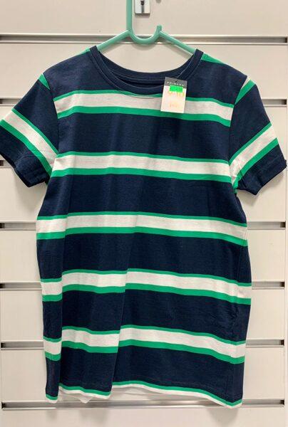 Īsroku krekls 9-10 gadi/140cm/Tumši zils ar baltām un zaļām svītrām.