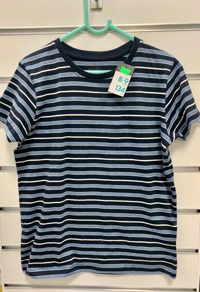 Īsroku krekls 8-9 gadi/134cm/Zils ar svītrām.