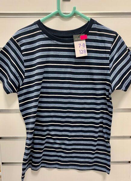 Īsroku krekls 7-8 gadi/128cm/Zils, svītrains.
