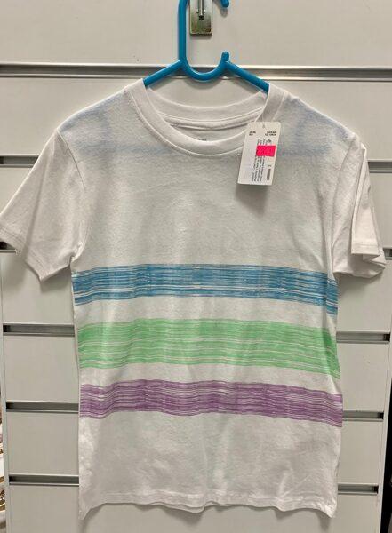 Īsroku krekls 7-8 gadi/122-128cm/Balts ar krāsainām svītrām.