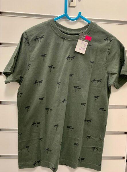 Īsroku krekls 7-8 gadi/128cm/Haki zaļš ar palmām.