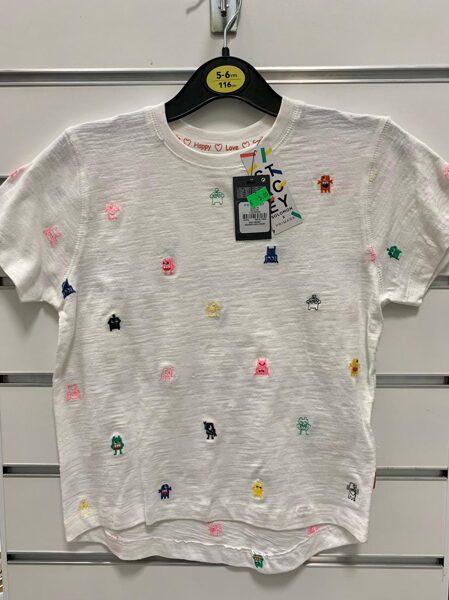 Īsroku krekls 5-6 gadi/116cm/Balts ar krāsainiem mošķiem.