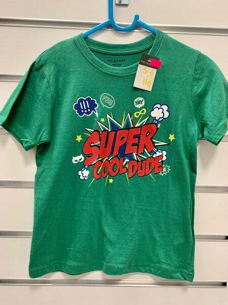 Īsroku krekliņš 5-6 gadi/116cm/Zaļš ar uzrakstu Super Cool dude