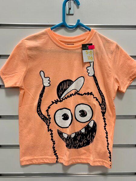 Īsroku krekls 5-6 gadi/116cm/Oranžs ar mošķi.