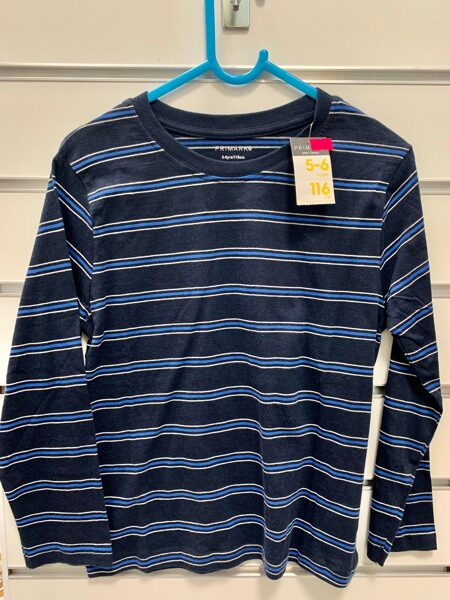 Garroku krekls 5-6 gadi/116cm/Tumši zils ar gaiši zilām svītrām.