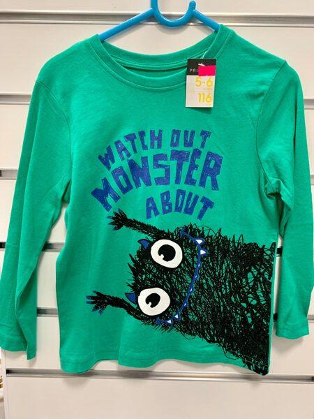 Garroku krekls 5-6 gadi/116cm/Zaļš ar monstru.