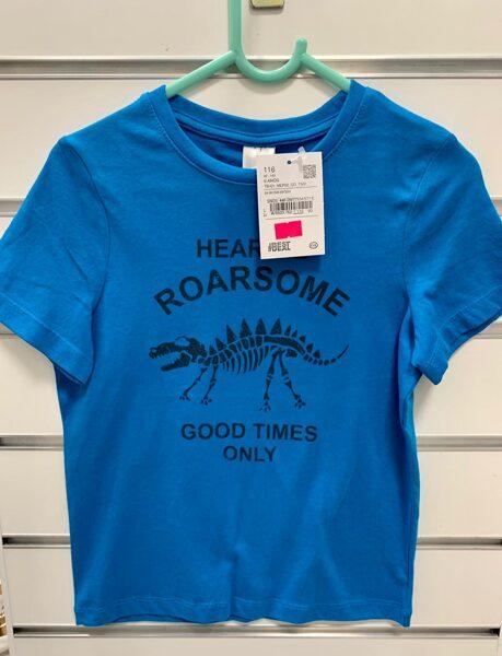 Īsroku krekls 5-6 gadi/116cm/Gaiši zils ar uzrakstu Good Times Only