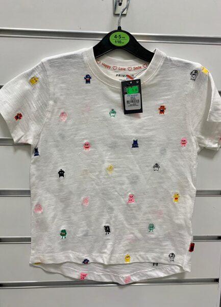 Īsroku krekls 4-5 gadi/110cm/Balts ar mošķiem.