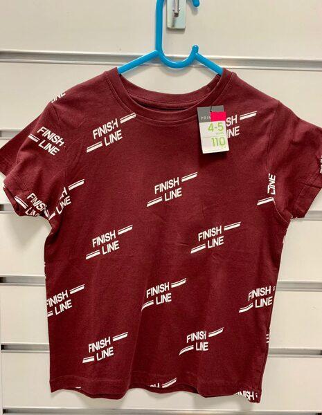 Īsroku krekls 4-5 gadi/110cm/Bordo krāsā ar uzrakstu Finish Line