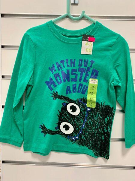 Garroku krekls 4-5 gadi/110cm/Zaļš ar monstriņu.