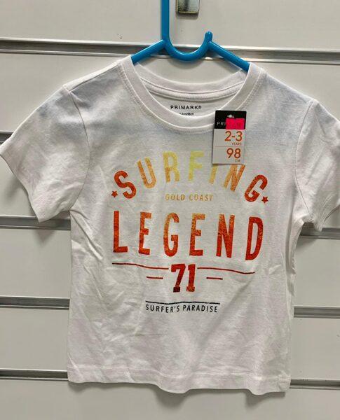 Īsroku krekls 2-3 gadi/98cm/Balts ar uzrakstu Surfing Legend 71