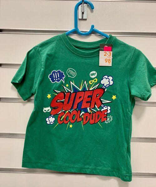 Īsroku krekls 2-3 gadi/98cm/Zaļš ar uzrakstu Super Cool Dude