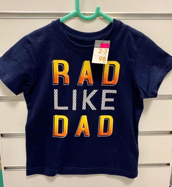 Īsroku krekls 2-3 gadi/98cm/Tumši zils ar uzrakstu Rad like Dad