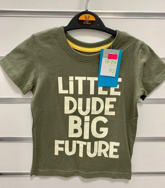 Īsroku krekls 2-3 gadi/92cm/Zaļgans-Little Dude Big Future